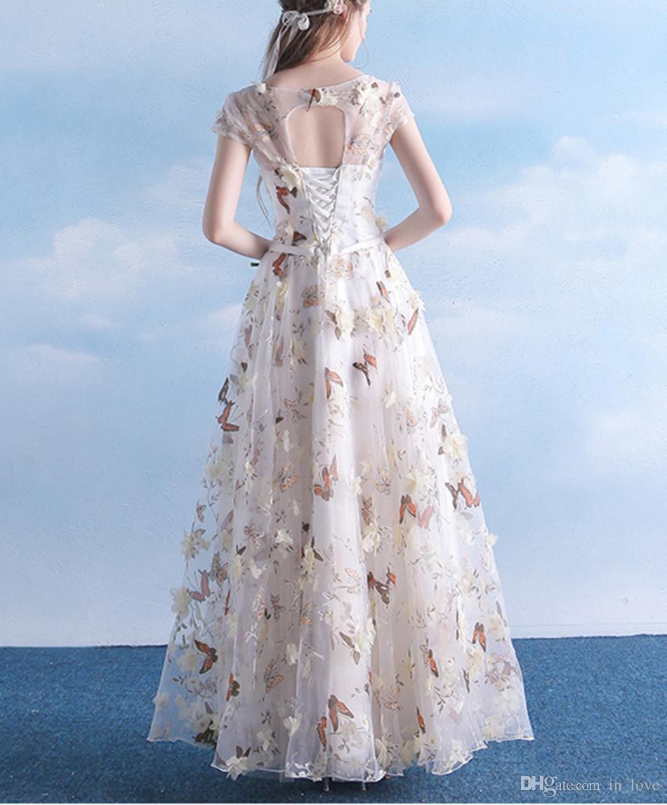 3D Floral Mariposa Impreso Crema Vestidos de baile Casquillo de la manga Longitud del piso Largo Una línea Vestido de desfile de chicas románticas Parte de los vestidos