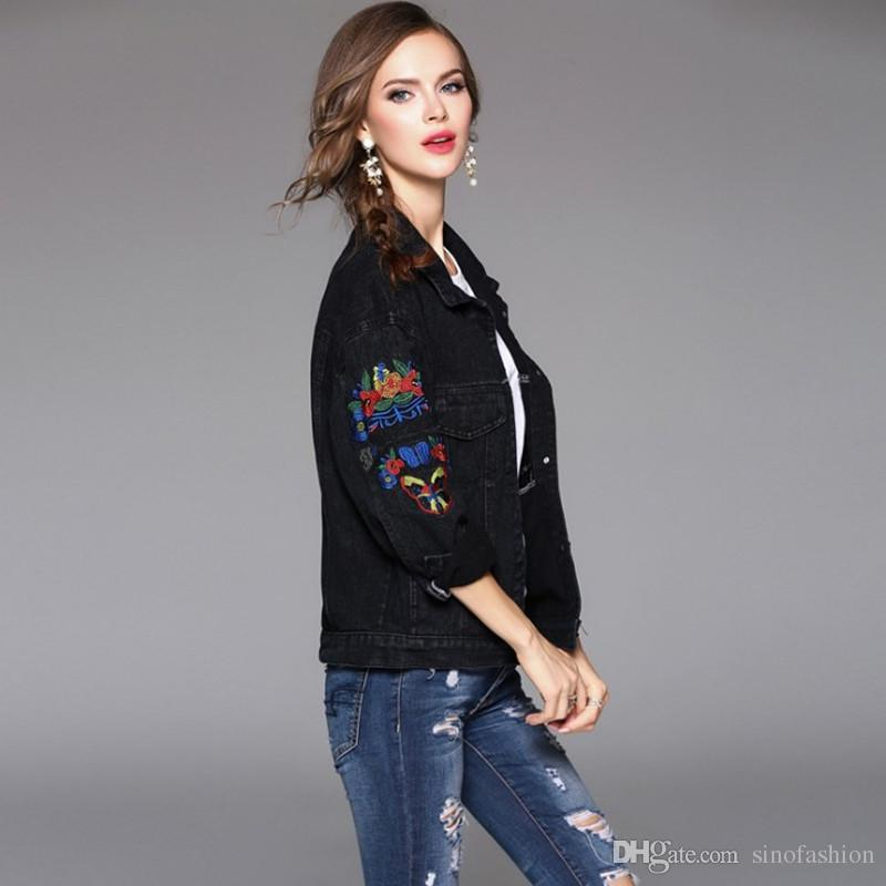 93b62a3973a Oversize Jeans Coats For Women Casual Long Sleeve Embroidery Loose Denim  Jackets Personality Vintage Black Jeans Jacket Leather Jacket Jackets From  ...