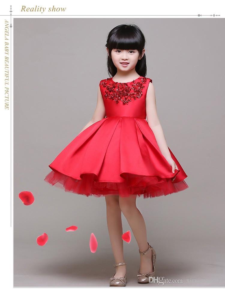 3-12T Marca Satin Flower Girl Dress Red Paillettes Princess Tutu Abiti da sposa le feste di Natale in stile Sweet Kids Dress