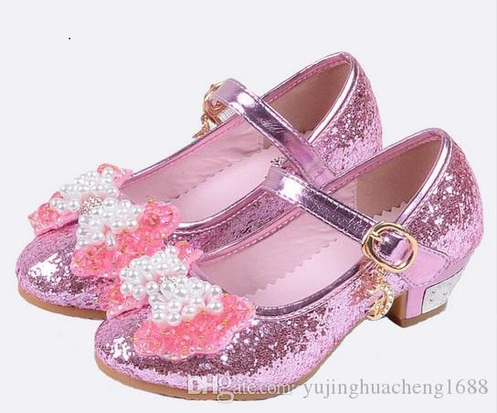 2018 NEW Girls High Heels Children Princess Flower Fashion Pumps Kids Pink  School Wedding Dance Shoes Boys Leather Sneakers Girls Leather Sneakers  From ... 122b15fad461