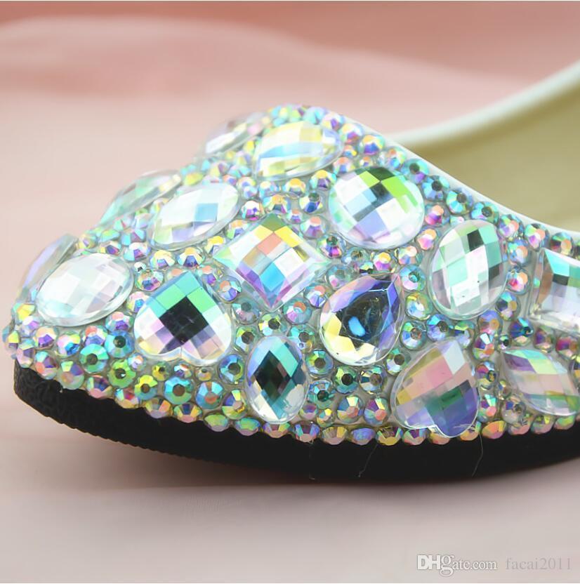 Neue 2018 Flache Weiße Edelstein AB Diamant Kristall Schuhe Nachtclub Schuhe Artisanal Schuhe Frauen Bankett Weiß High Heel frauen Single