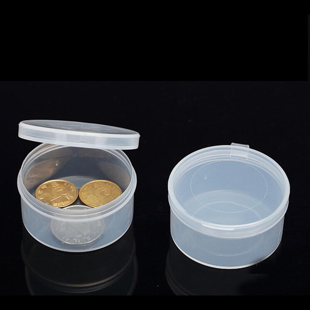 6dfbba1dd Compre 5 Unids Pequeño Redondo De Plástico Transparente Transparente Con  Tapa Recipiente De Recipiente Caja De Almacenamiento Caja De Contenedores De  ...