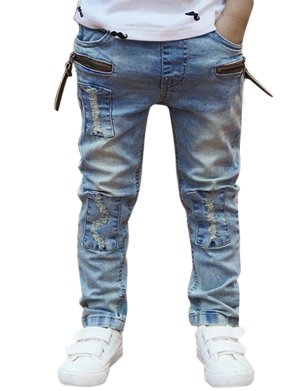 2016 Limited Casual Regular Light Mid Solid Zipper Fly Jeans New Fashion Kids Children Boys Jeans Denim Pants