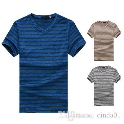 Erkek V Yaka Çizgili T gömlek Yaz Yeni Moda Temel Kısa Kollu Patchwork Renk Kısa Üst Tee S-2XL Boyutu