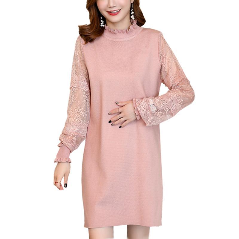 2018 Autumn Lace Patchwork Plus Size Knit Dress For Pregnant Women