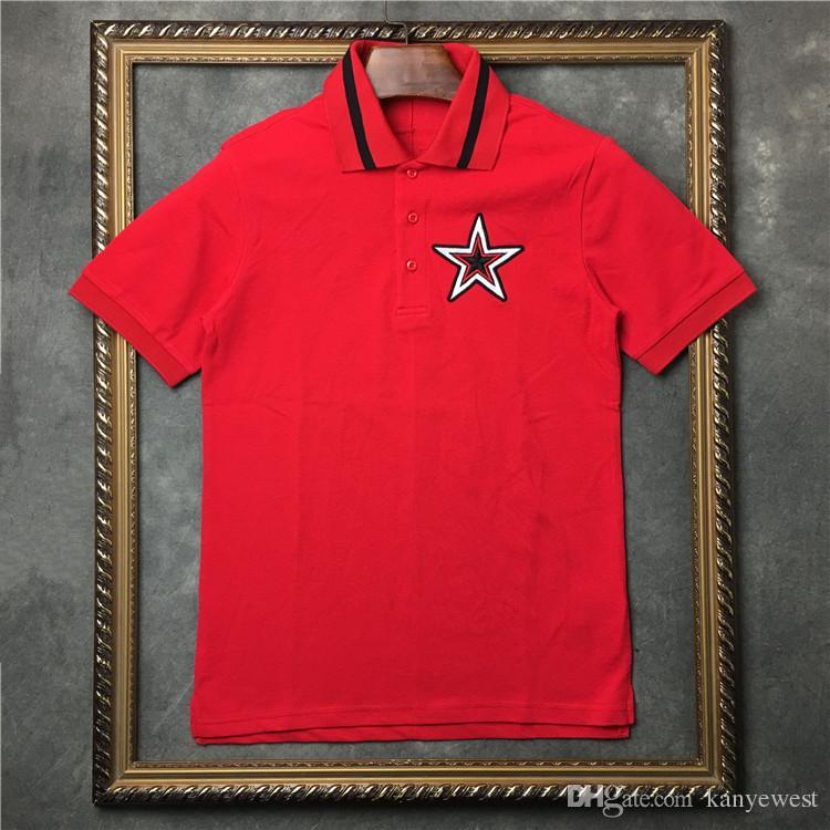 2019 горячая европа лето футболка мужская вышитая пентаграмма рубашки поло топ качество мужчины женщины дизайнер футболка хлопок футболка топы