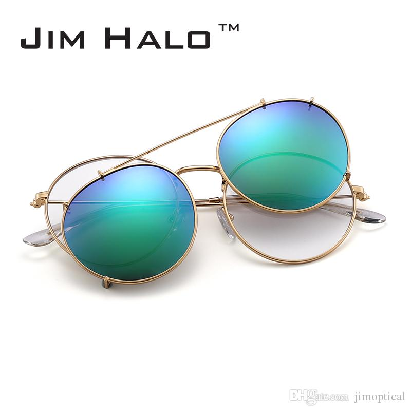 Jim Halo Round Polarized Clip On Sunglasses Metal Frame Mirror ...