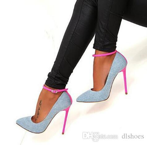 bb85f96f16a4 Newest Denim Blue High Heel Shoes Sexy Pointed Toe Ankle Strap Buckle Woman  Pumps Pink Stiletto Heel Cowboy Party Dress Shoes Vegan Shoes Cheap Heels  From ...