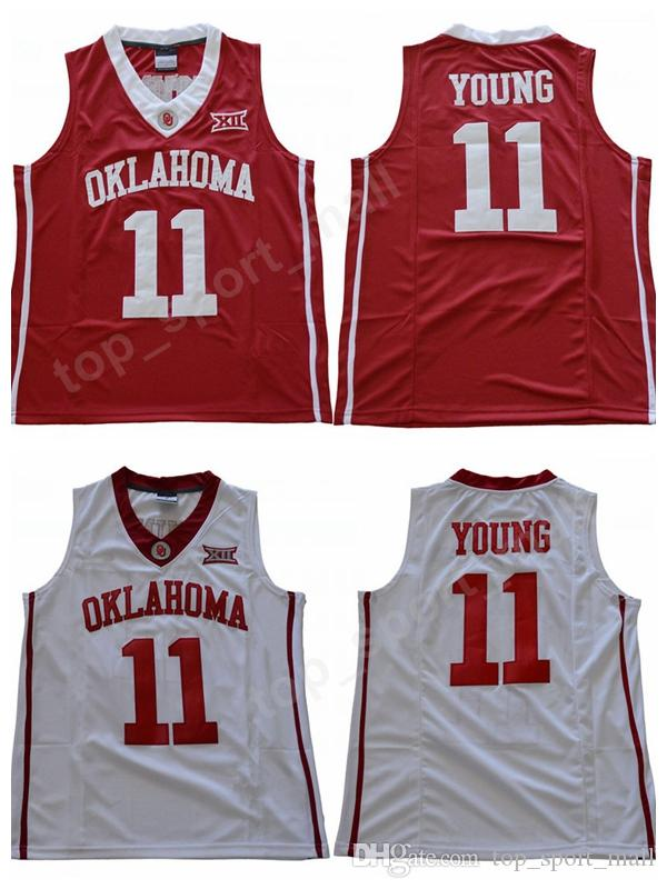 2019 NWT Men 11 Trae Young Oklahoma Sooners Jerseys University Basketball  Trae Young College Jersey Sale Team Red Color Away White Sport Uniform From  ... 1fc48a225