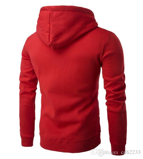 Sonbahar ve kış yeni erkek kapüşonlu fermuar düz renk rahat erkek kazak ceket