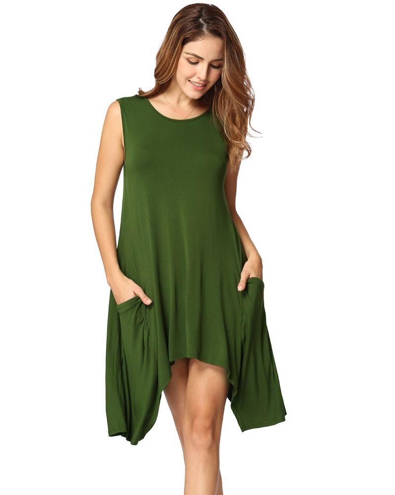 Women Summer Casual Dress Elegant Sleeveless Sweatshirt Pocket Tunic