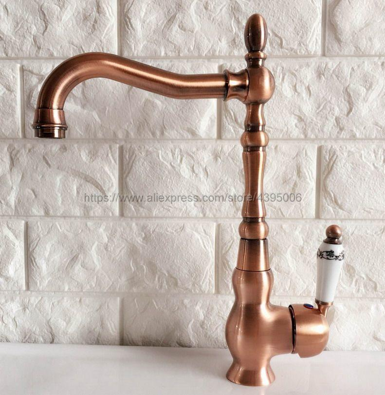 2019 Basin Faucets Antique Red Copper Bathroom Sink Faucet 360