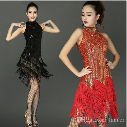 a428e9caf0ba4 2019 Adult/Girls Latin Dance Dress Salsa Tango Chacha Ballroom Competition  Group Dance Dress Sexy Sleeveless Sequin Tassel Dress Red/Black/Blue From  Lanuer, ...