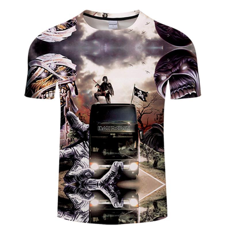 08d5b8b7e2639 Compre Iron Maiden Camiseta Hombres Mujeres 3D Print Bus Manga Corta  Camisetas Heavy Metal Banda Rock Punk Tees Summer Tops Moda Camiseta Fresca  A  28.41 ...