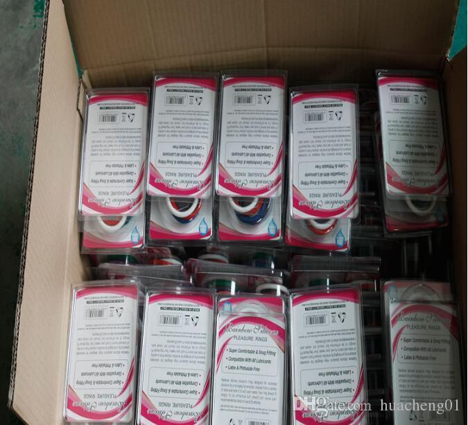 Anillos de goma del arco iris del pene anillo colorido del martillo del anillo del retraso del pene del silicón productos del sexo para los hombres / pack libre por DHL