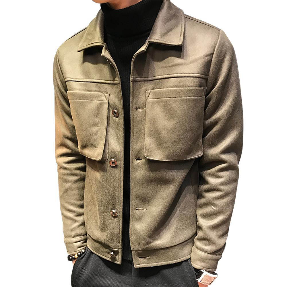 50ee0bd6aea6a Satın Al 2018 Yeni Erkek İngiliz Tarzı Vintage Tasarım Yaka Kısa Süet Ceket  Düz Renk Büyük Cep Rahat Çok Cep Rop Giyim, $60.32 | DHgate.Com'da