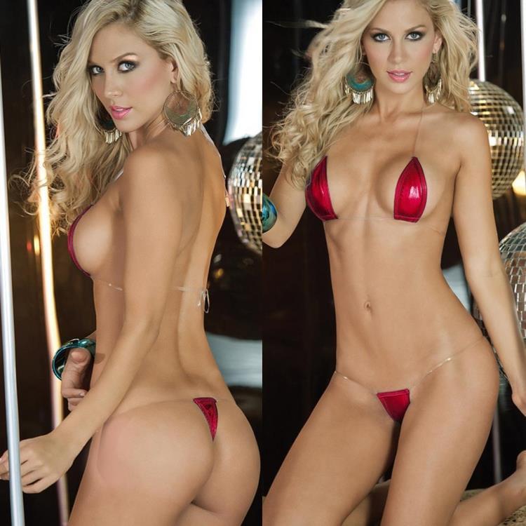 Sexy Brązowanie PU Przezroczyste paski Koronki Stringi Bikini Swimsuit Trzy Mini Bra