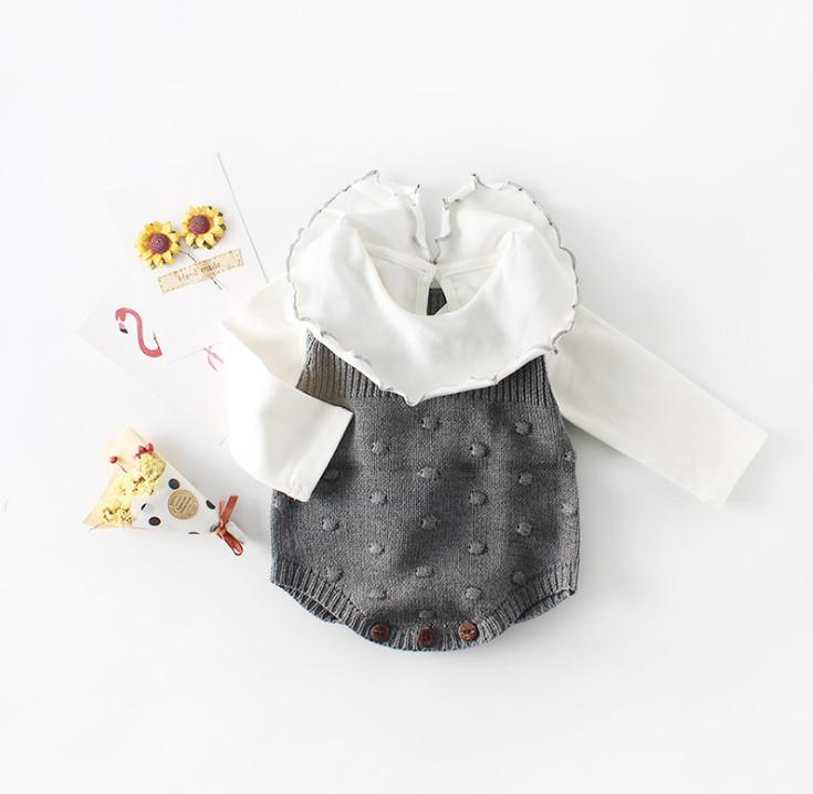 New Arrival Spring Baby Girl Clothes Newborn Bodysuits Knitted Sweaters Rompers Sleeveless Jumpsuits Infant Girls Clothing White Orange Blue