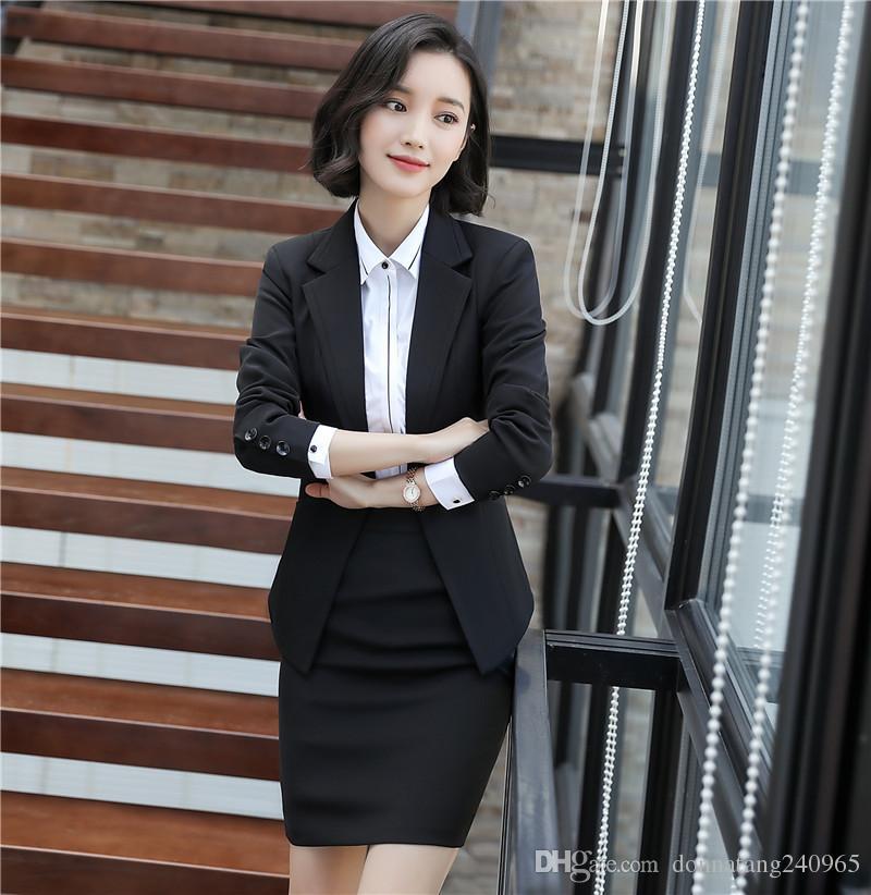 899072f7b728 Compre 2018 Nuevo Traje De Pantalón De Negocios De Color Sólido Coreano  Chaquetas Para Mujer Chaqueta Delgada De La Moda Traje Falda Femenina Con  Muesca ...