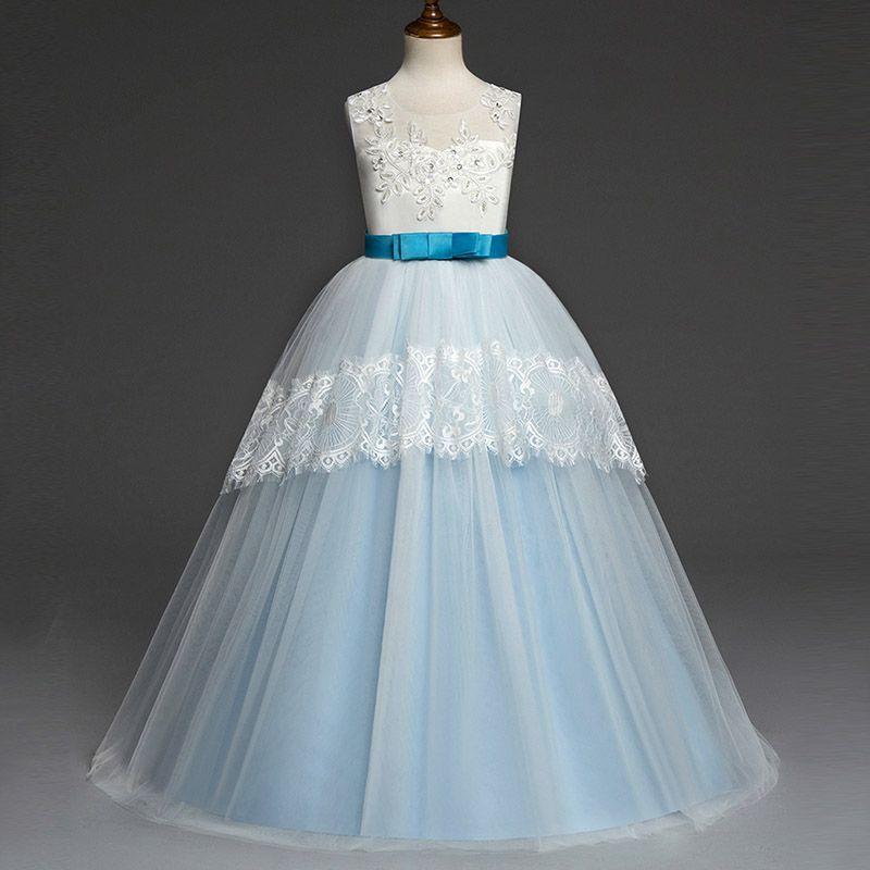 e583da6606 2018 New autumn children s clothing baby lace wedding dress long tutu lace  princess dress flower girl skirt piano costume with teen girls pa