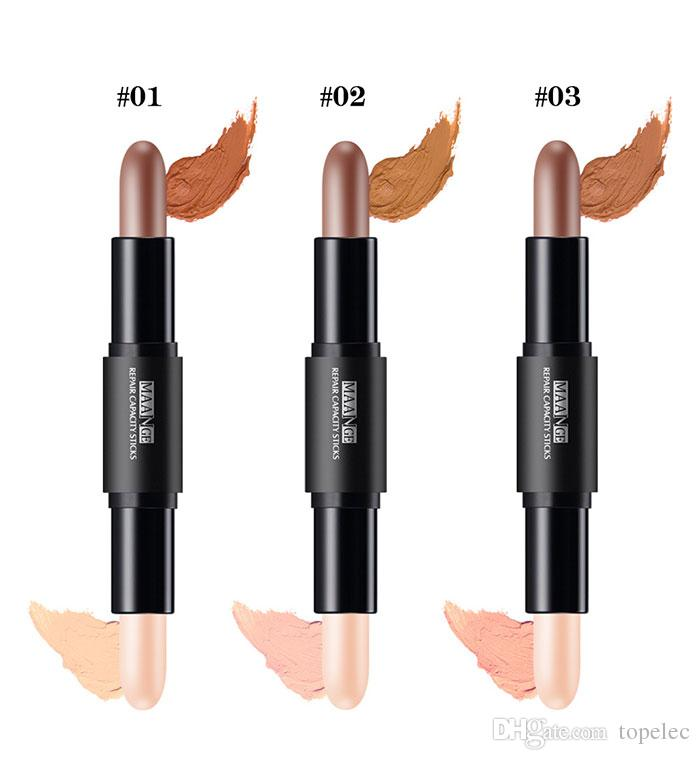 Alta qualità MAANGE Double-end Highlighter e Shimmer Sticks Concealer Face Makeup Pen Whitening Concealer Contour Brightening Pencil