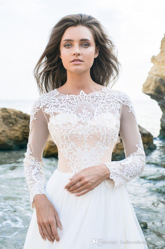 2018 Arabic A Line Wedding Dresses Crew Neck Long Sleeves Lace Appliques Illusion Beach Button Back Chiffon Behomian Country Bridal Gowns