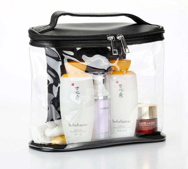 Clear PVC women make up travel toiletry bag cosmetics, brushes storage organizer bag with PU tote