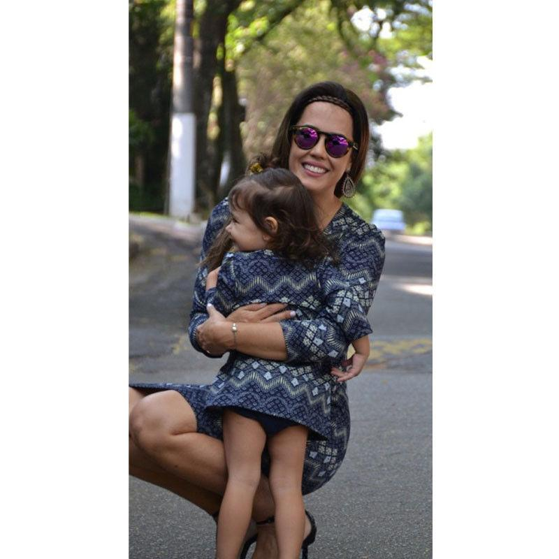 2017 Brand New Mother and Daughter Boho Clothes Parent-child dress Family Matching Outfits Set Long Sleeve Geometric Dress