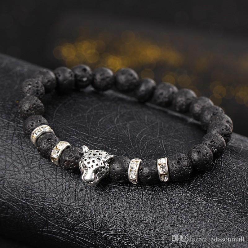 Fashion Leopard Head Charm Black Mala Beads Elastic Crystal Bracelets Femme Handmade Vintage Punk Jewelry D378S