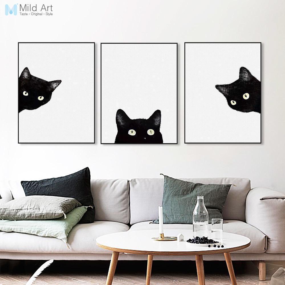 Satın Al 3 Parça Suluboya Siyah Kedi Kafası Yüz Hayvan Posterler Ve