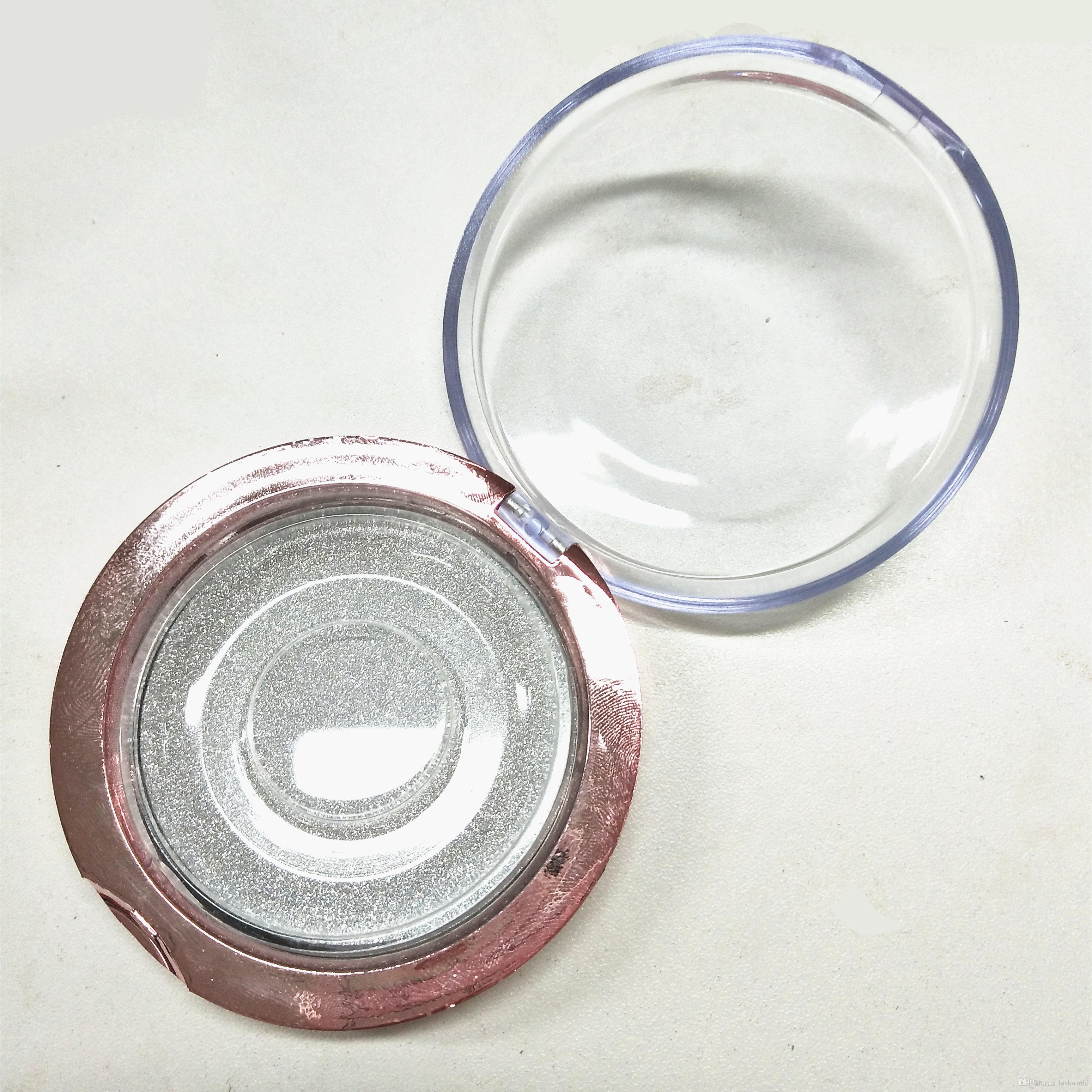 scatola di plastica rotonda del ciglio del visone con il marchio su misura vendita calda calda di alta qualità di stampaggio a caldo della vendita calda con l'imballaggio del cliente