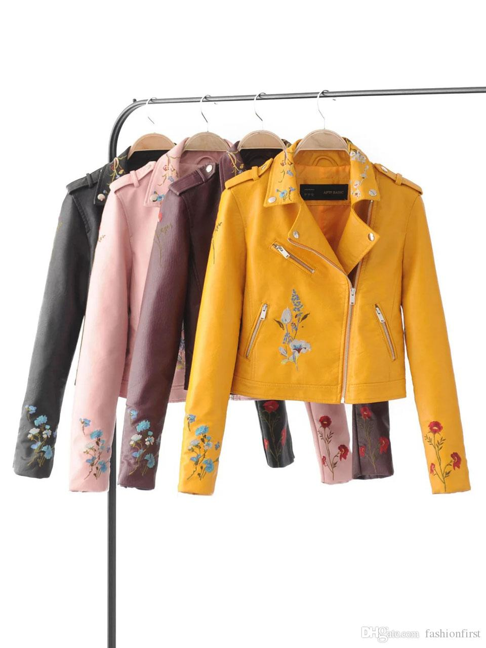 2019 Fashion Yellow Pink Blue Women Leather Jacket Bomber Motorcycle  Leather Jackets Women Brand Leather Coat Jaqueta Couro From Fashionfirst 725f94365