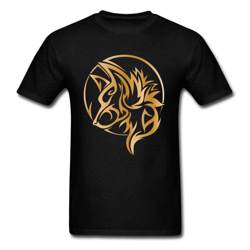 6b644f1860 Tee Shirt Homme Gold Wolf Tattoo Print T Shirts Game Of Thrones T Shirt  Stark Funny T Shirt Regular Streetwear Youth Man Outfit Shirts Designer  Designer ...