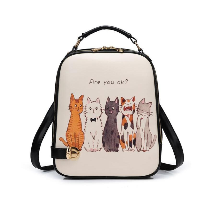 Korean Style Female Cute Cat Backpack Girl Backpacks For Children Women  Small PU Leather Backpack Kids Bag Girls School Bags Backpacks For Men  Jansport Big ... da49d971cf151