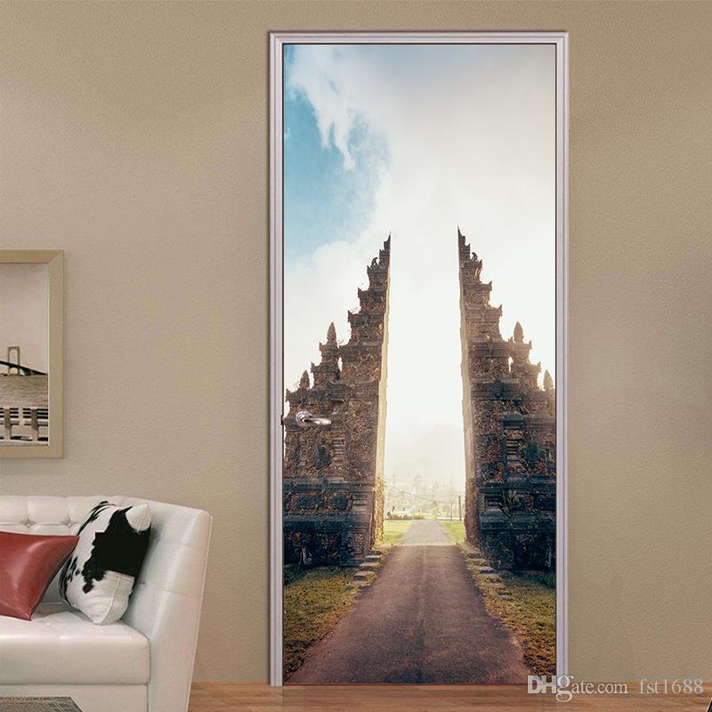 Building 3D Door Sticker Wall Mural Abstract Art Wallpaper Road Vinyl Decals Cool Living Room Bedroom Home Decoration