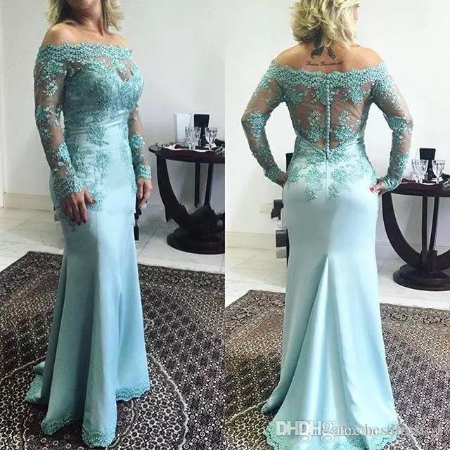 Long Sleeve Mother Of Bride Dresses Mermaid Off Shoulder Satin Covered Button Long Evening Gowns Mint Green Formal Wedding Guest Dress