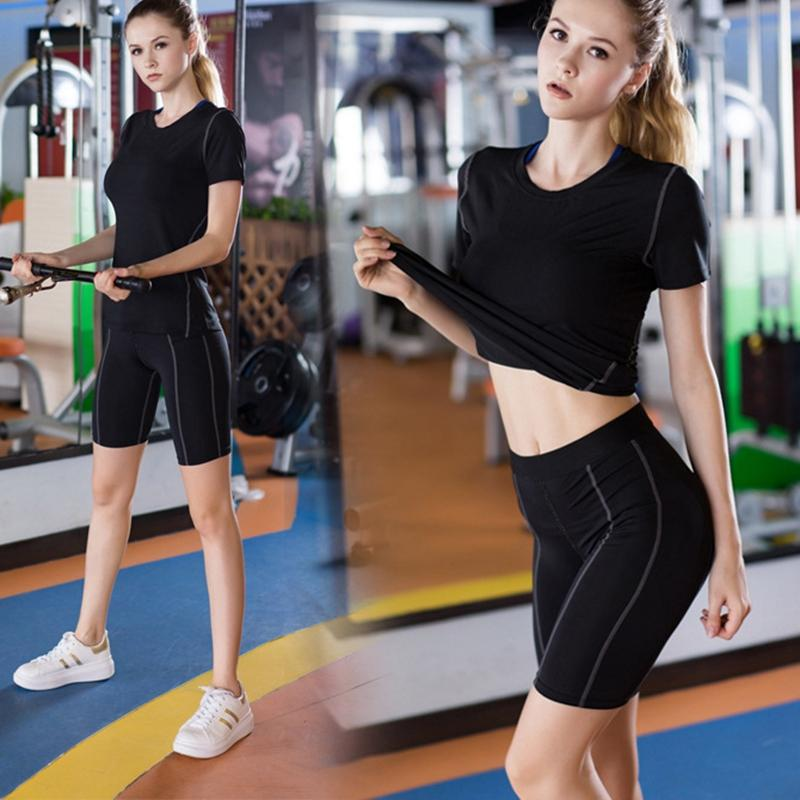 PENERAN Women Gym Fitness Shorts Solid Yoga Short Woman Elastic Workout Dance Athletic Running High Waist Short Black White 2018