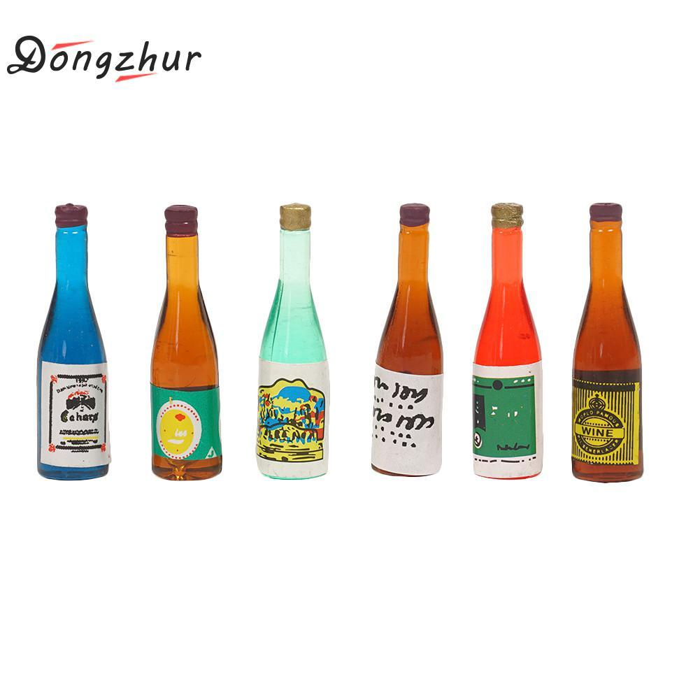 Dongzhur 6pcs/set Drinks Bottle Toy House Miniaturas 1:12 Doll House Miniatures 1:12 Dollhouse Kitchen Accessories Bottles