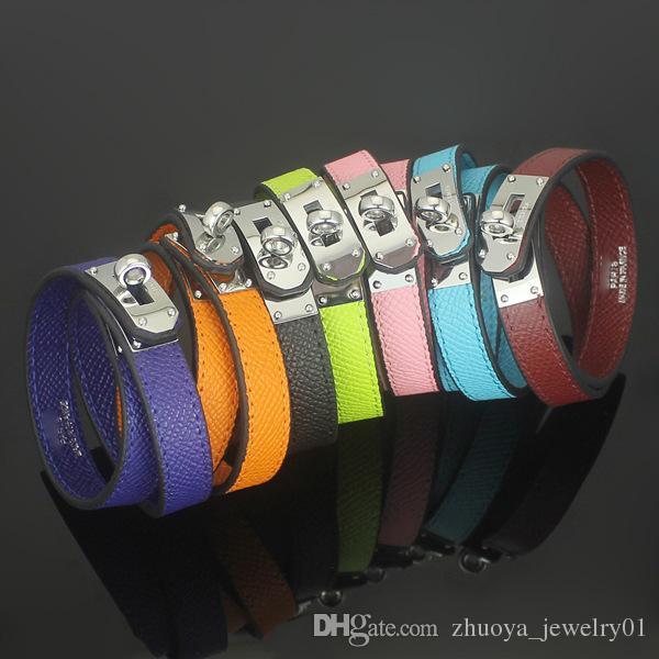 2018 Jewelry wholesale CDC double skin cross pattern leather bracelet h round buttons palm Leather Bracelet