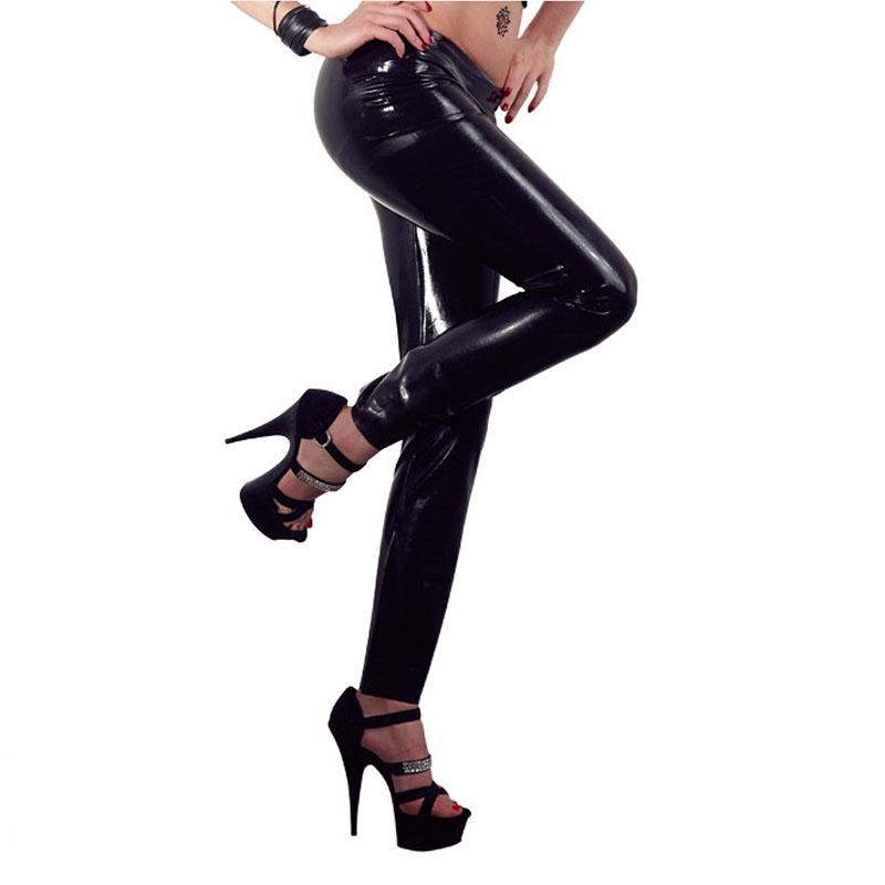 7f7dec010e971 Neue stilvolle Gothic Shiny PVC Leggings Erotische Wet Look Kunstleder  Hosen PU Vinyl Low Waist Leggings Legging Plus Größe M-XL