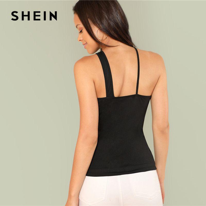 SHEIN Black Elegant Straps One Shoulder Cut Out Slim Fit Plain Tank Summer Women Party Sexy Vest Top