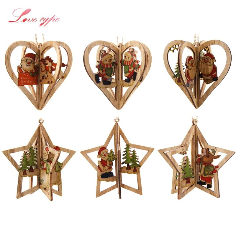 gift gifts 3Sets DIY Creative 3D Star&Heart Christmas Wooden Pendants Ornaments Christmas Party Decorations Xmas Tree Ornaments Kids Gift