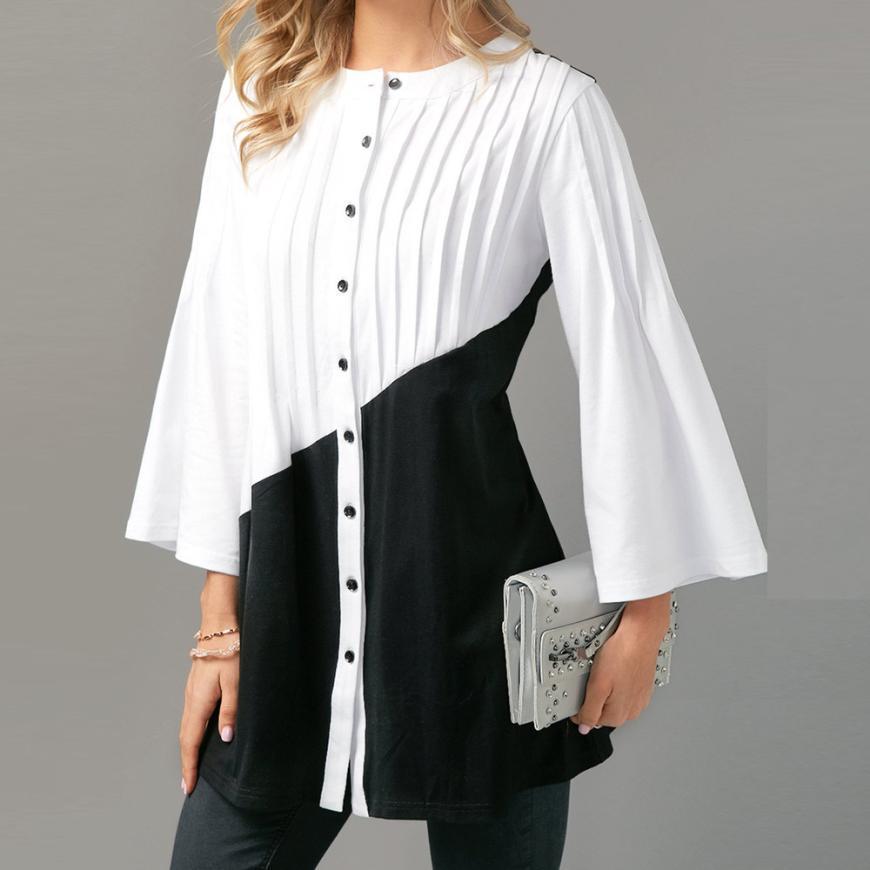 b04d1a024 Compre Moda Para Mujer Camisas Blancas Blusa Elegante Casual Botón  Patchwork Blusa De Manga Tres Cuartos Tops Camisas Feminina Envío Gratis  F  A  29.12 Del ...