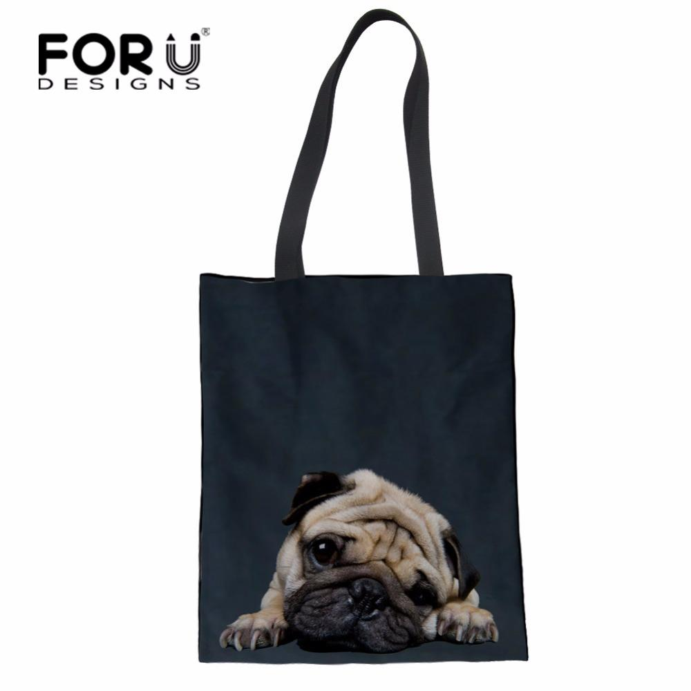 ec23d8b7eb FORUDESIGNS Large Canvas Tote Bag Cotton Line Reusable Shopping Bag Women  Beach Handbags Pud Dog Printed Portable Grocery Bags Totes Crossbody Bags  From ...