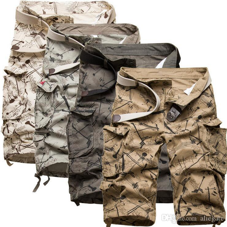 d9e542dbf3 2019 New Men'S Cotton Cargo Shorts Good Quality Multi Pocket ...