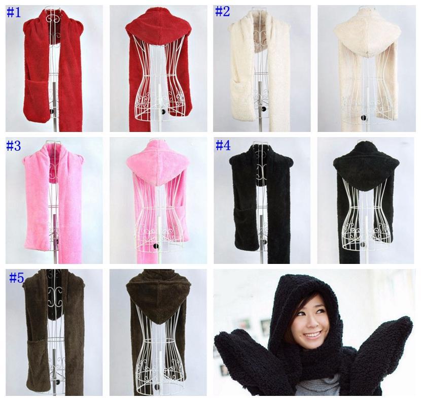 669941680e1 2019 Fashion Women Winter Warm Soft Plush Faux Fur Hooded Cap Hat Scarves  Hood Pocket Gloves Scarf Women Accessories MMA729 From B2b baby