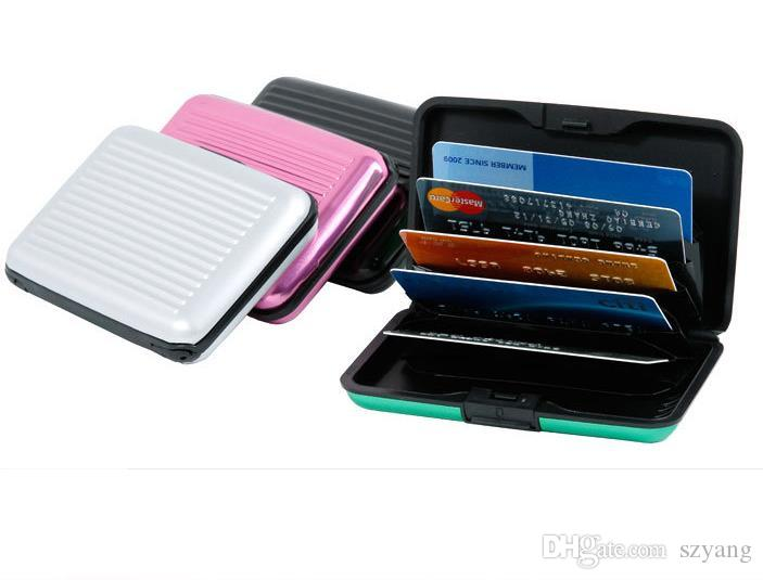 newest 97762 6602f Aluminium Credit card wallet cases card holder,bank card case wallet  Black(10 colors available)Free shipping SN1060