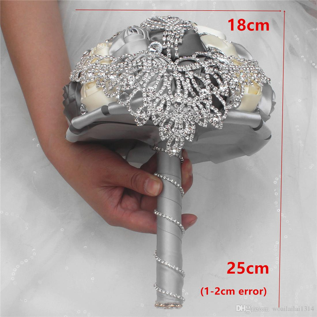 Exquisite Luxury Wedding Bouquet Drop Diamond Handmade Flowers Brooch Bouquet Fashion Wedding Bouquet For Sale W288