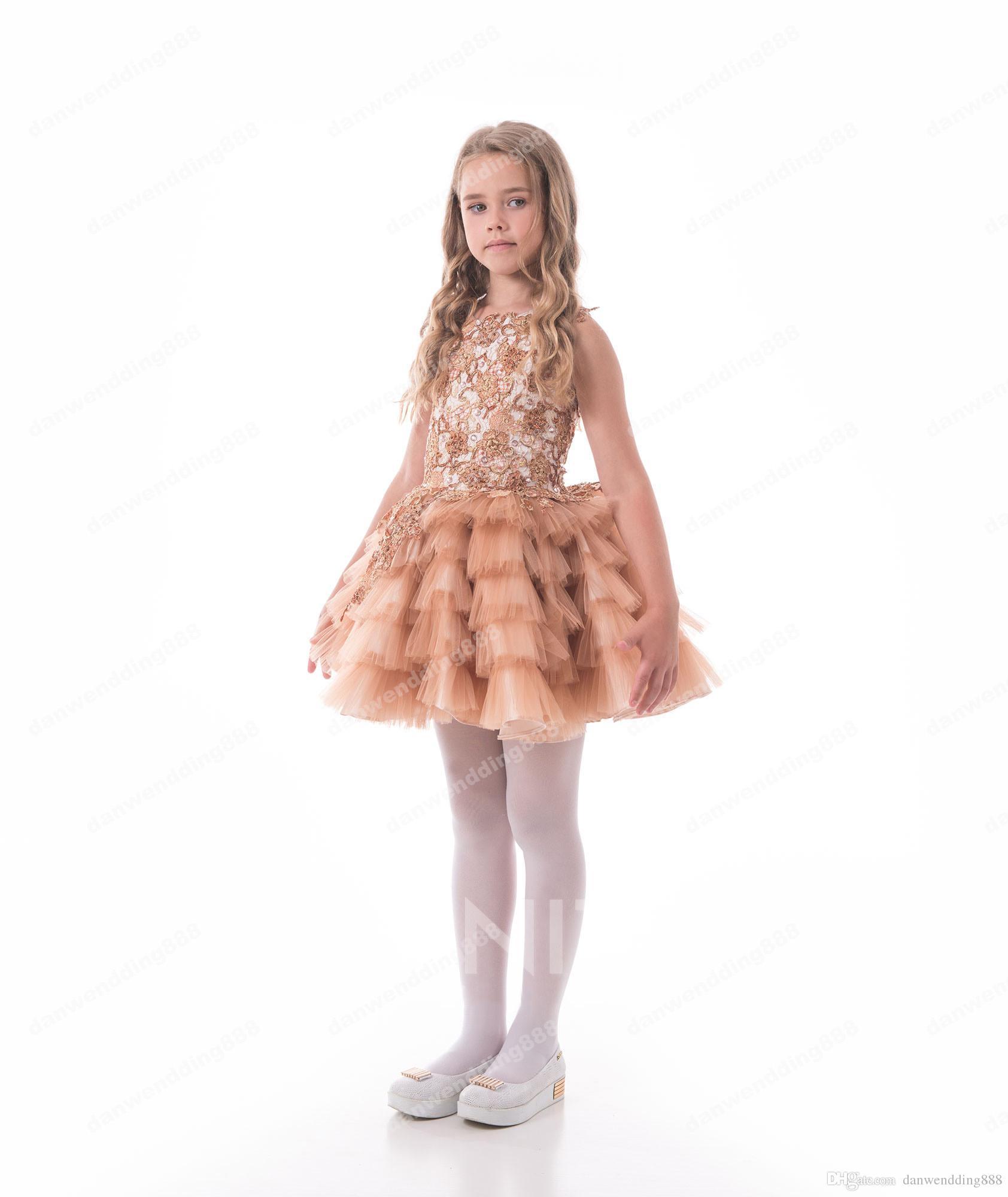 Beauty Champagne Tulle Beads Short Flower Girl Dresses