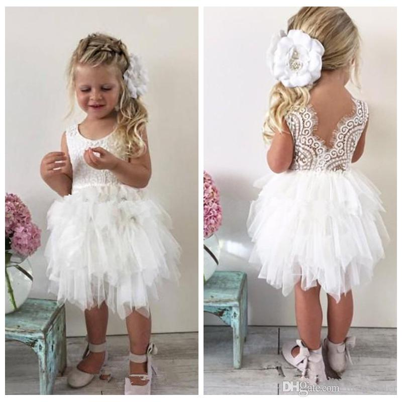 Cute 2018 Lace Flower Girl Dresses For Toddler Infant Baby White